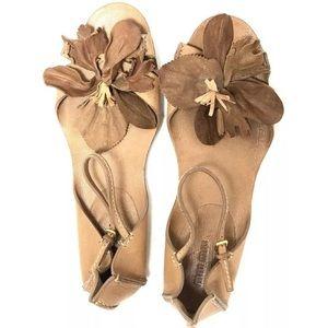 Miu Miu Brown Leather Flowered Open Toe Sandals